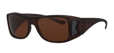 Fitover sunglasses Overzet zonnebril Sonnen Überbrillen Block brown (model POL503)