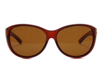 Fitover sunglasses Overzetzonnebril Sonnen Überbrillen Milano brown front (Model: POL505)